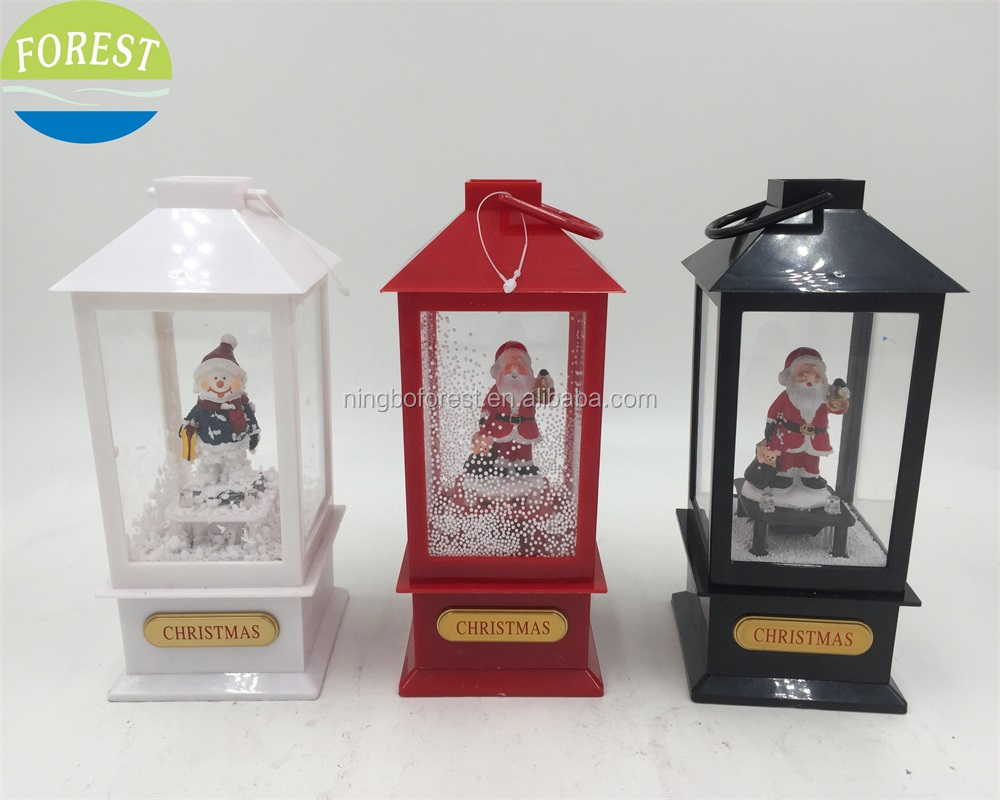 Led Candle Lantern With Music Snowing Plastic Christmas