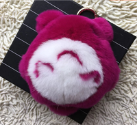 Japanese cartoon totorot key auto accessories real rabbit fur