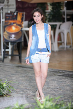 2014 women's denim shorts = vest + vest suit vest suit Women