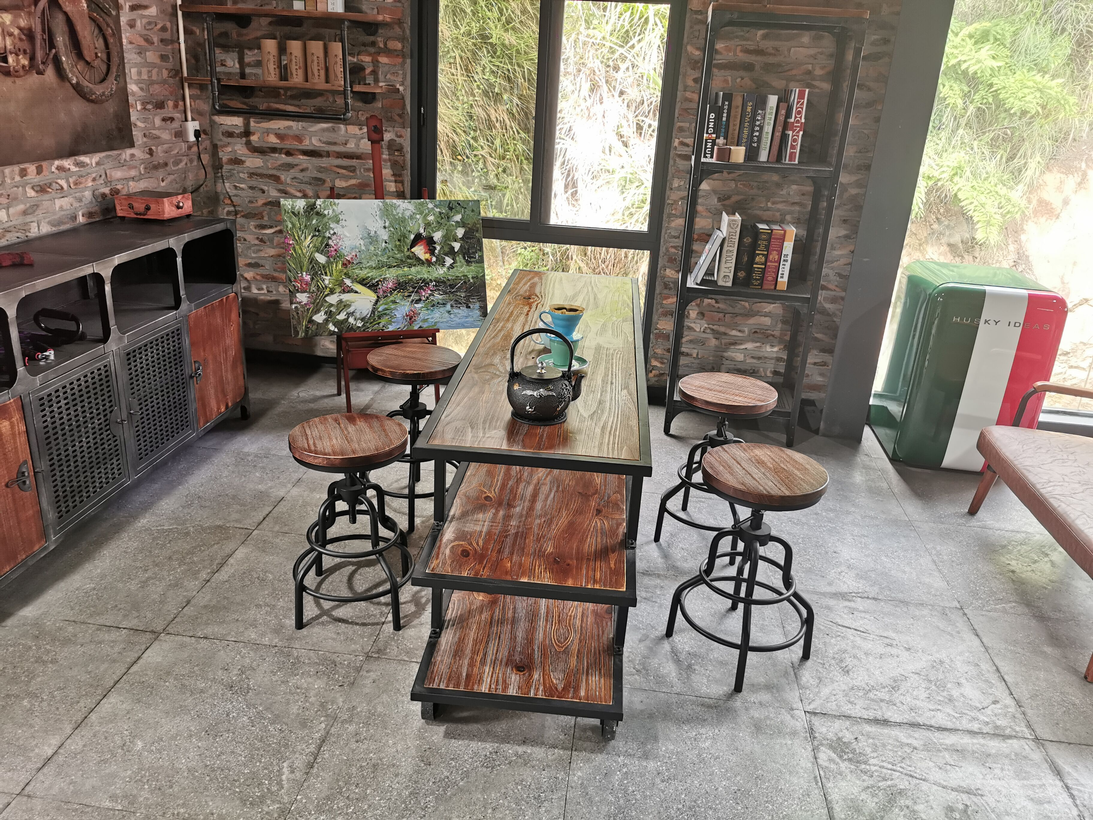 Factory cheap metal wooden top bar furniture  cafe Stool