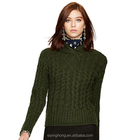 2015 Autumn Winter new design stylish warm ladies wool cabled sweater