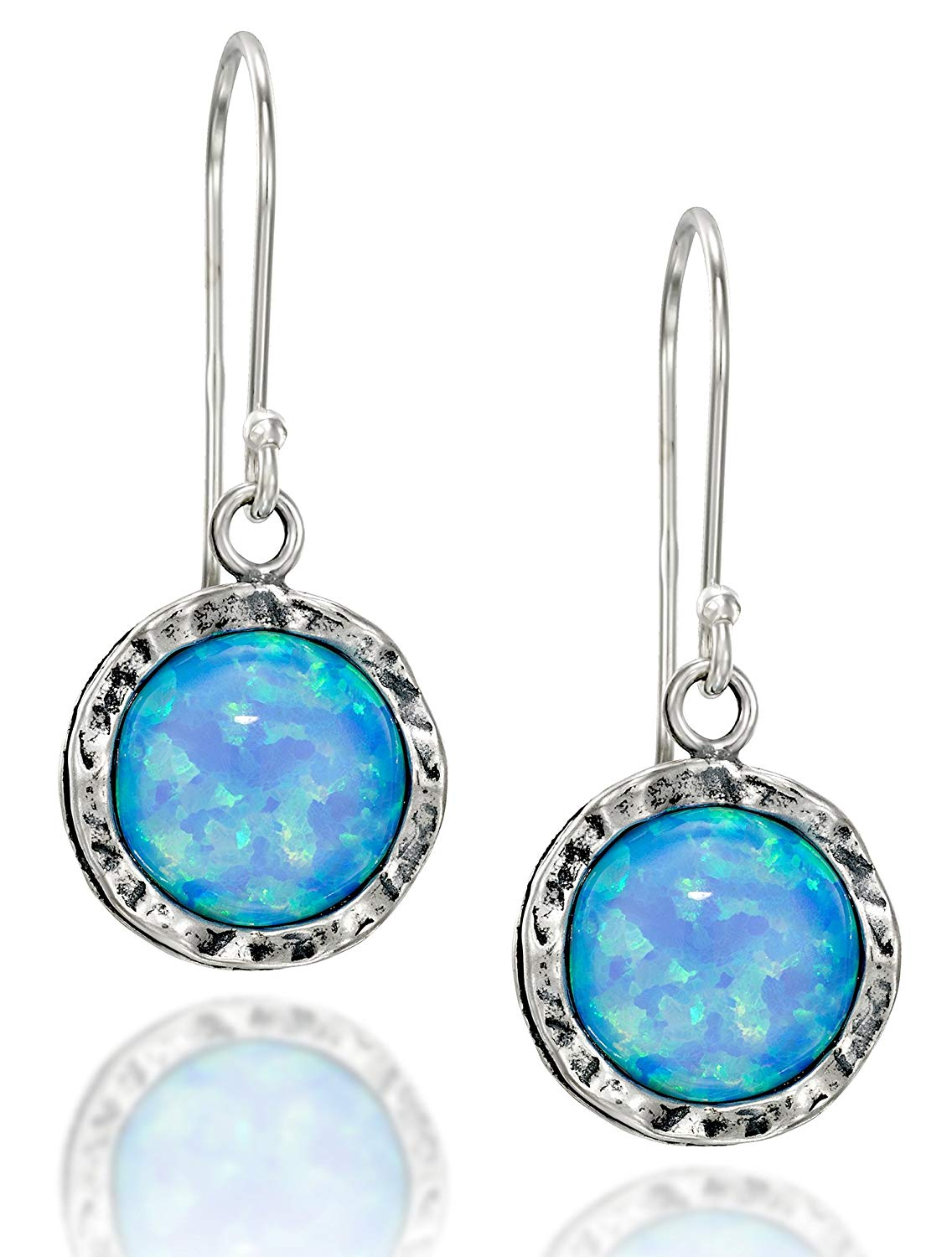 Shimmering Round 925 Sterling Silver Dangle Earrings with 10mm Created White or Blue Fire Opal Stones