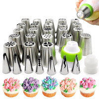 Cake Decorating Supplies - 12 Russian Piping Tips - - 8 Icing Nozzles - 20 Disposable Bags ,4Couplers&1nail