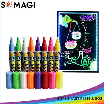 Glow In The Dark Blacklight Reactive Paint Pens Set Of 8 Buy Glow Marker Chalk Marker 10 Pack White Magic Marker Product On Alibaba Com