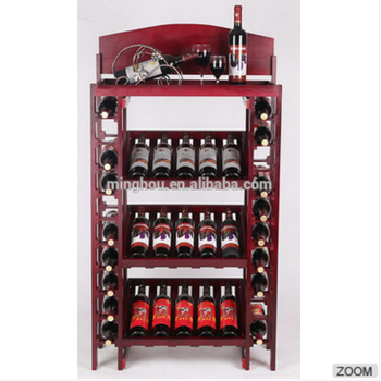 Free Standing Home Storage Wooden Wine Rack Display Table Shelf With