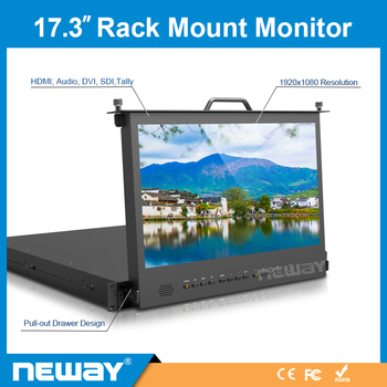 17.3 inch IPS Rack Mount FHD Broadcast Monitor with SDI DVI Audio