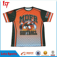 coolmax orange baseball t shirt/sportswear softball jersey/orange trimming softball t-shirt