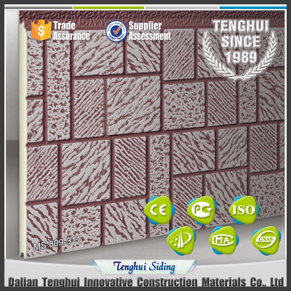 ladrillo mosaico textura metal grabado aislamiento exterior paneles de pared ncleo de espuma paneles sndwich