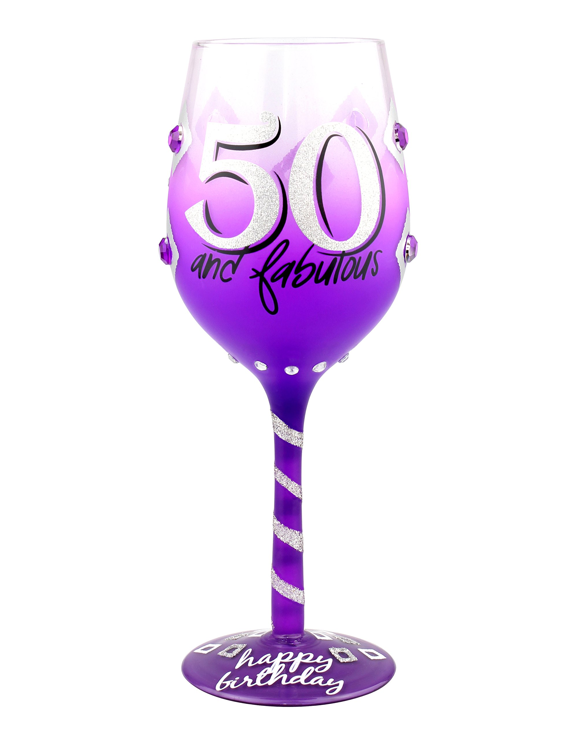 Top Shelf 50th Birthday Wine Glass ; Unique & Thoughtful Gift Ideas for Friends and Family ; Hand Painted Red or White Wine Glass for Mom, Grandma, and Sister