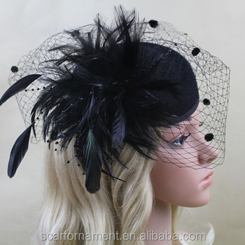 Vintage England Style Mother Of The Bride Hats Feather And Beads  Decorations Woollen Hats With Black beee5fe7cc89