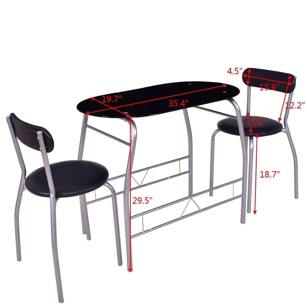 Get Quotations · Generic Furniture Chair Seat Ar Kitchen Dinin Set Black  Glass Set Blac Pub Bar Chair Table