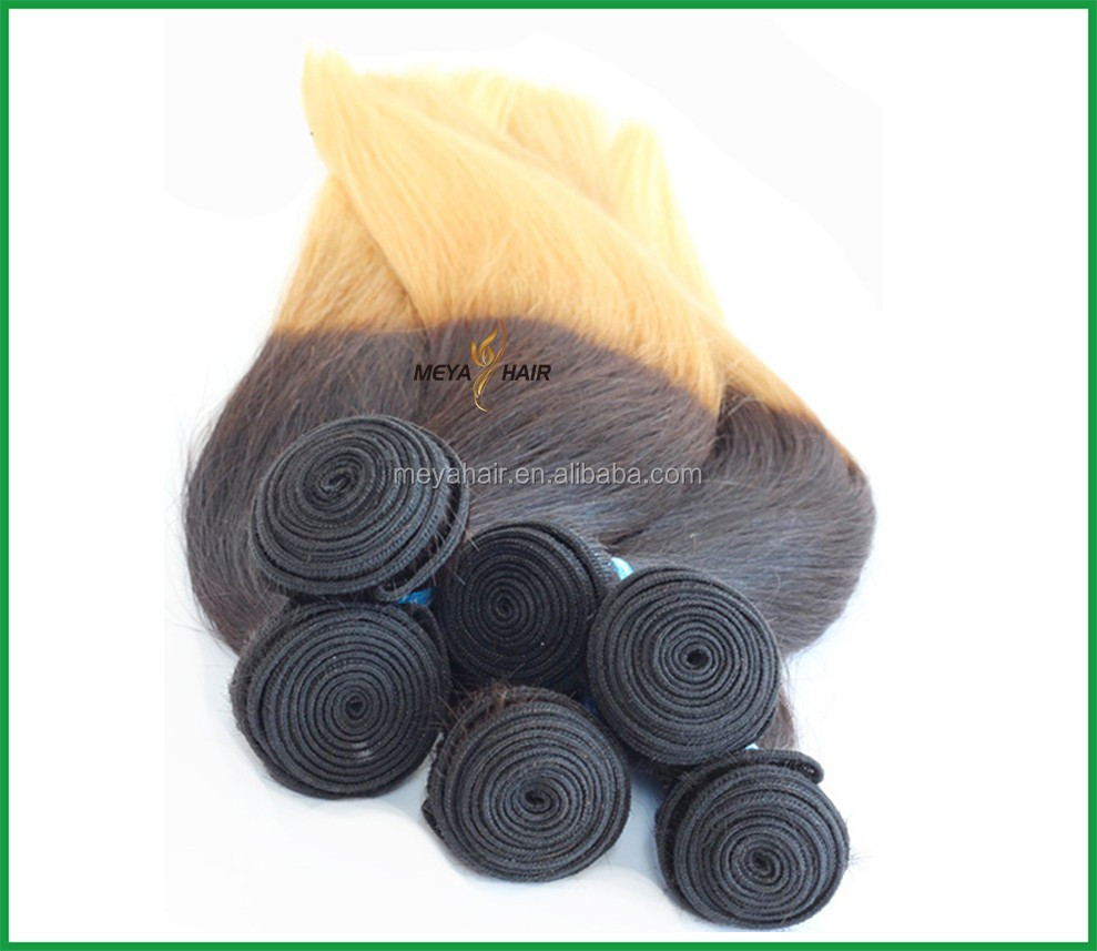 Meya factory best quality low price brazilian hair blonde 2 tone
