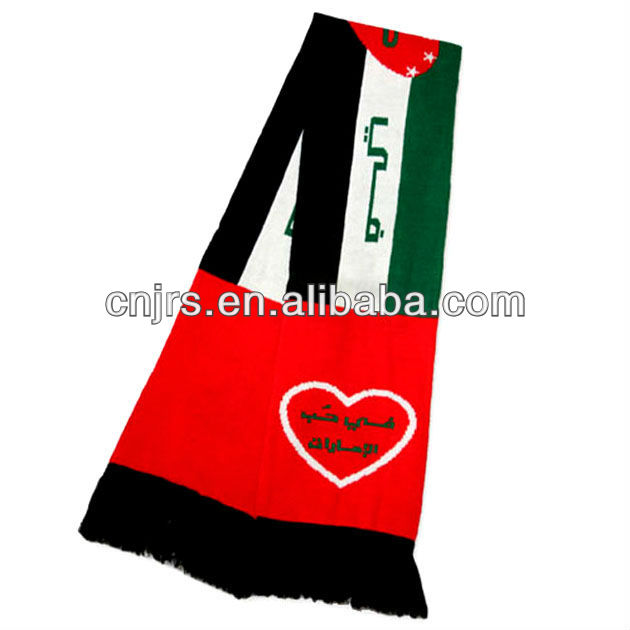 High quality knit UAE national day scarf country flag scarf
