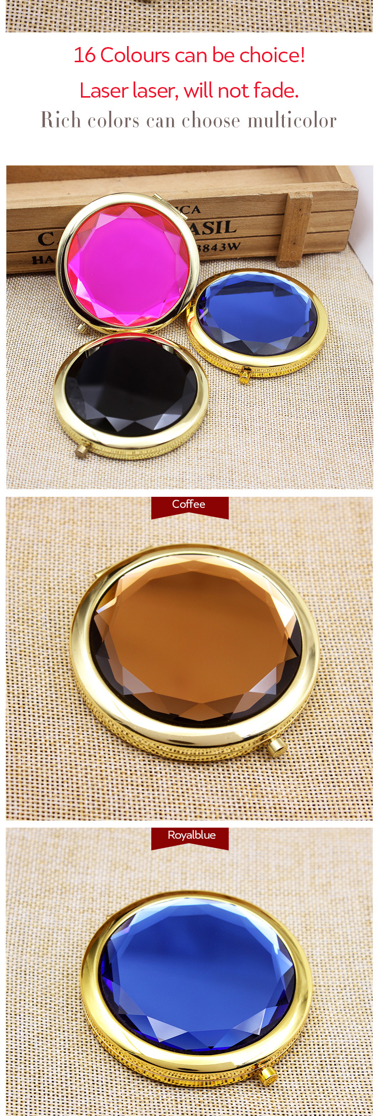 Hot Sale Fashion Gold double-sided Round crystal MakeUp Pocket mirror