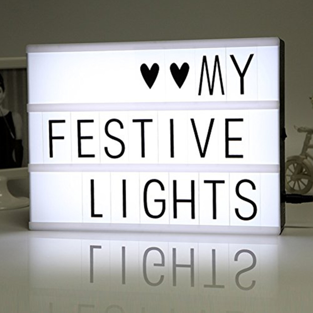 diy free cinematic light box with letters and led light a4 size luminous box in novelty lighting. Black Bedroom Furniture Sets. Home Design Ideas
