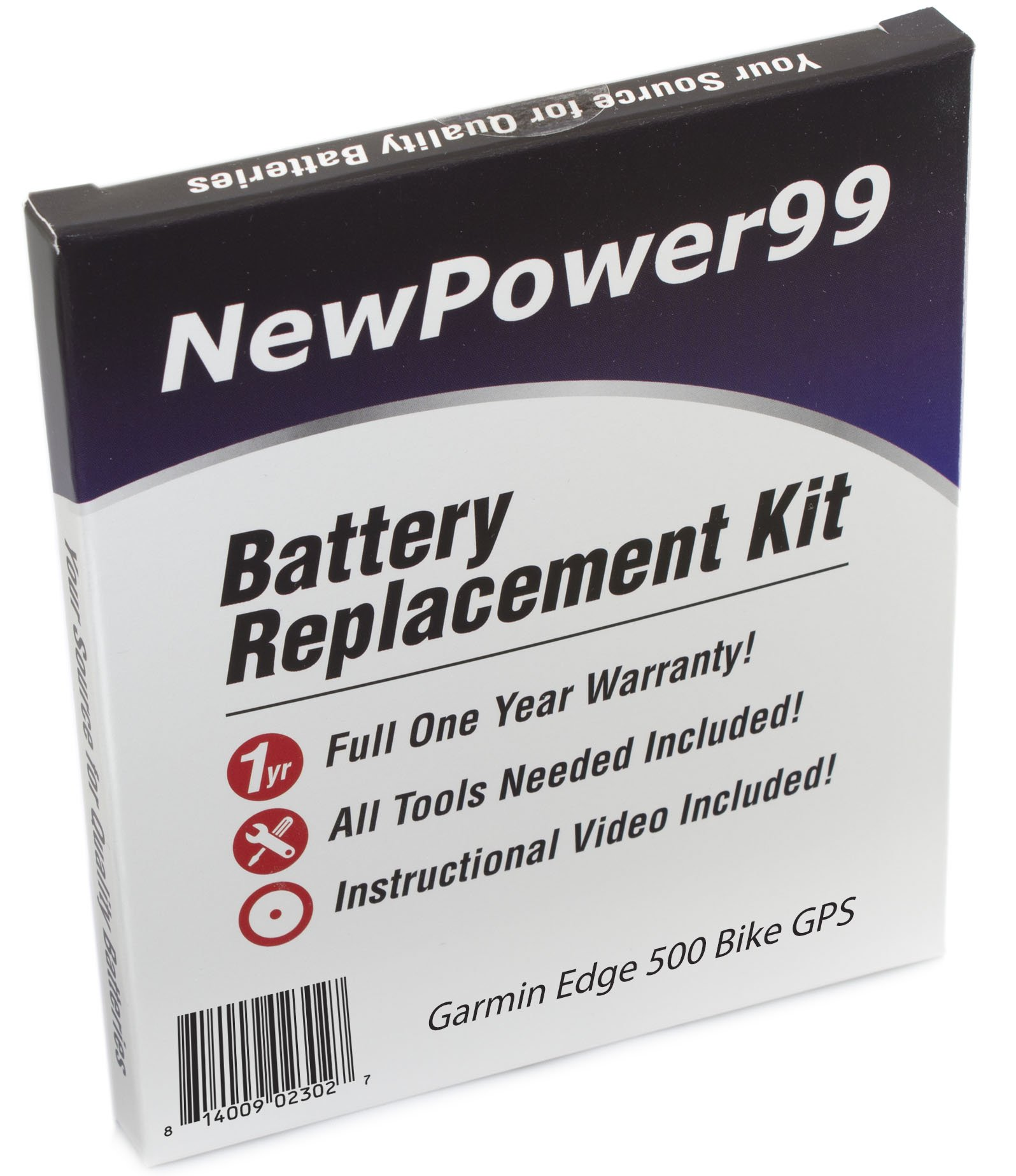 Edge 500 Garmin Bike GPS Battery Replacement Kit with Installation Video, Tools, and Extended Life Battery