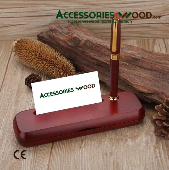 2016 hot selling wooden pen and wood pen stand and wood card holder on the desk for business gift