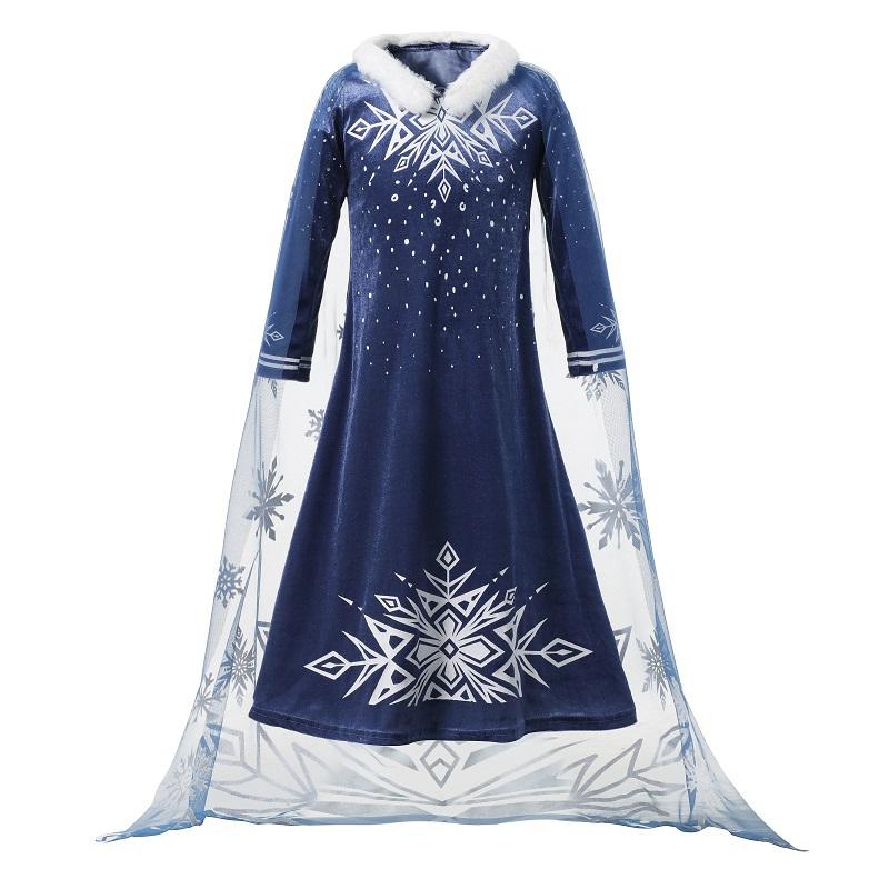b0d9b9b74f84 Ragazze Nuovo Vestito Elsa Bambini Deluxe Pleuche Manica Lunga Principessa  Cosplay Costume per la Ragazza Carnevale