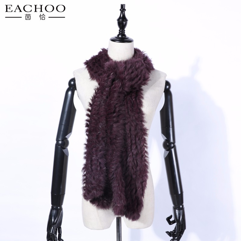 Fashion Autumn Winter Handmade Knitted Rex Rabbit Fur Scarf Collar