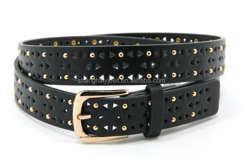 Fancy lady jeans belt with punched hole elemant YJ-TX0022