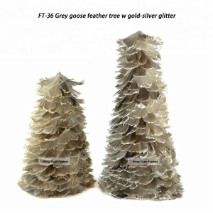 Lovely Gift Goose Coquille Feather Christmas Trees For Holiday Party Decoration