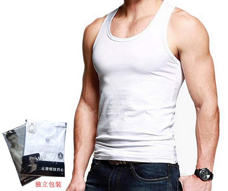 16f4d6b774 Get Quotations · 2015 new Fashion Brand Men's Cotton O-Neck Tank Tops  Summer Male Sleeveless Vests,
