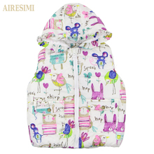 Children Clothing Winter Outerwear&Coats Animal Graffiti Thick lovely Girls Vest Hooded Kids Jackets Baby Girl Warm Waistcoat