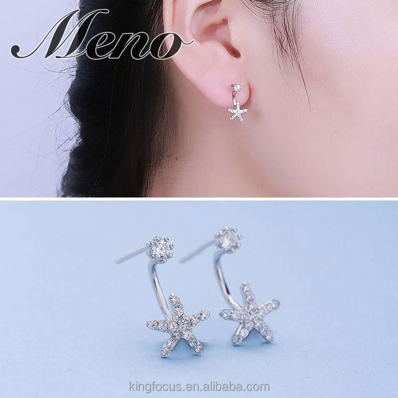 Meno S925 silver five pointed star CZ setting stud fashion