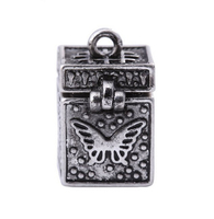 Regious jewelry Vintage Cube Prayer Box 925 sterling silver Pendant Charms