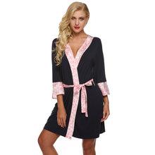 Женский сатиновый банный халат Ekouaer, кружевное ночное белье с поясом(Китай)