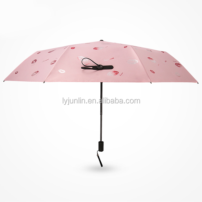 Popular China promotional Valentine's Day gift 3 fold umbrella High quality lip print