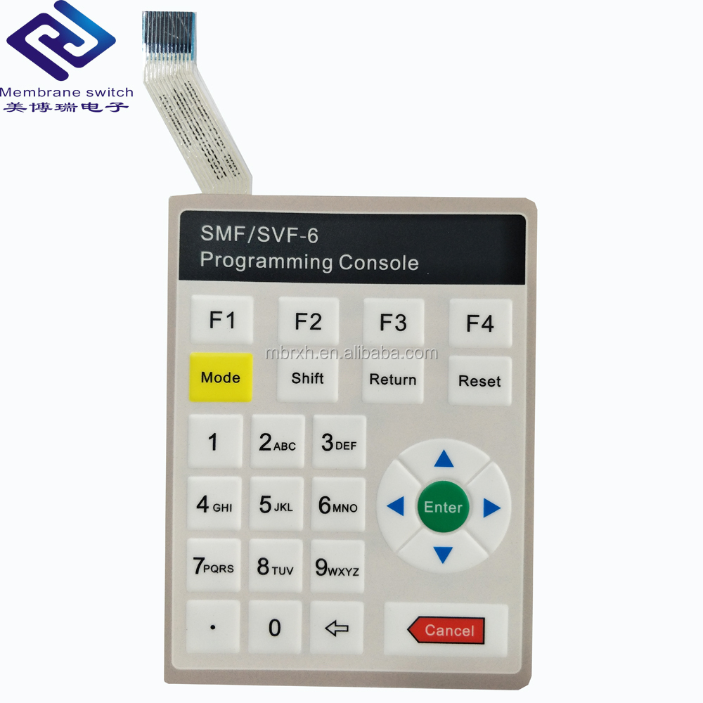 Customized PC/PET membrane switch keypad with adhesive label