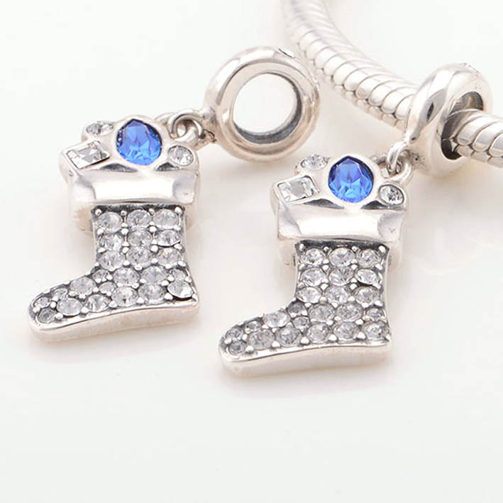 b5103c86a Get Quotations · 2015 New 925 Sterling Silver Pave Snow Boot Charm Pendant  fits Pandora Charms bracelet necklace DIY