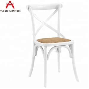 White Timber Cross Back Chairs With Rattan Seats YJ225