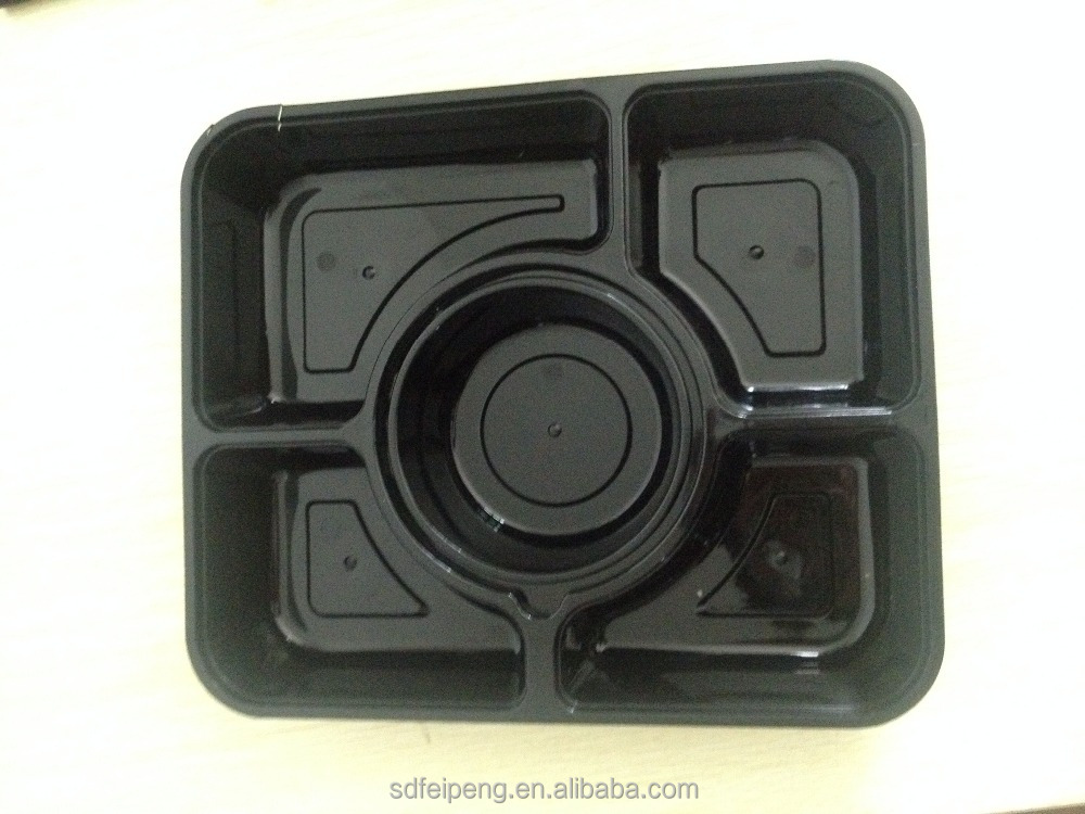 black and transparent rectangle plastic food packaging <strong>plate</strong> with a round bowl
