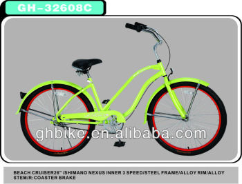 "26"" Shimano 3 Speed Beach Cruiser Bike"