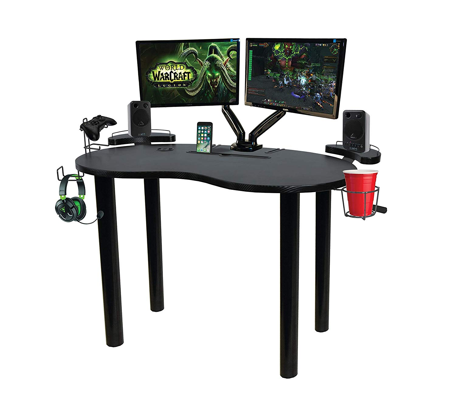 Gaming Desk, Black Color, Carbon-Fiber Texture Laminate Surface, Powder-coated, Steel Legs, Wire Storage Basket, Space Storage, Bundle with Our Expert Guide with Tips for Home Arrangement