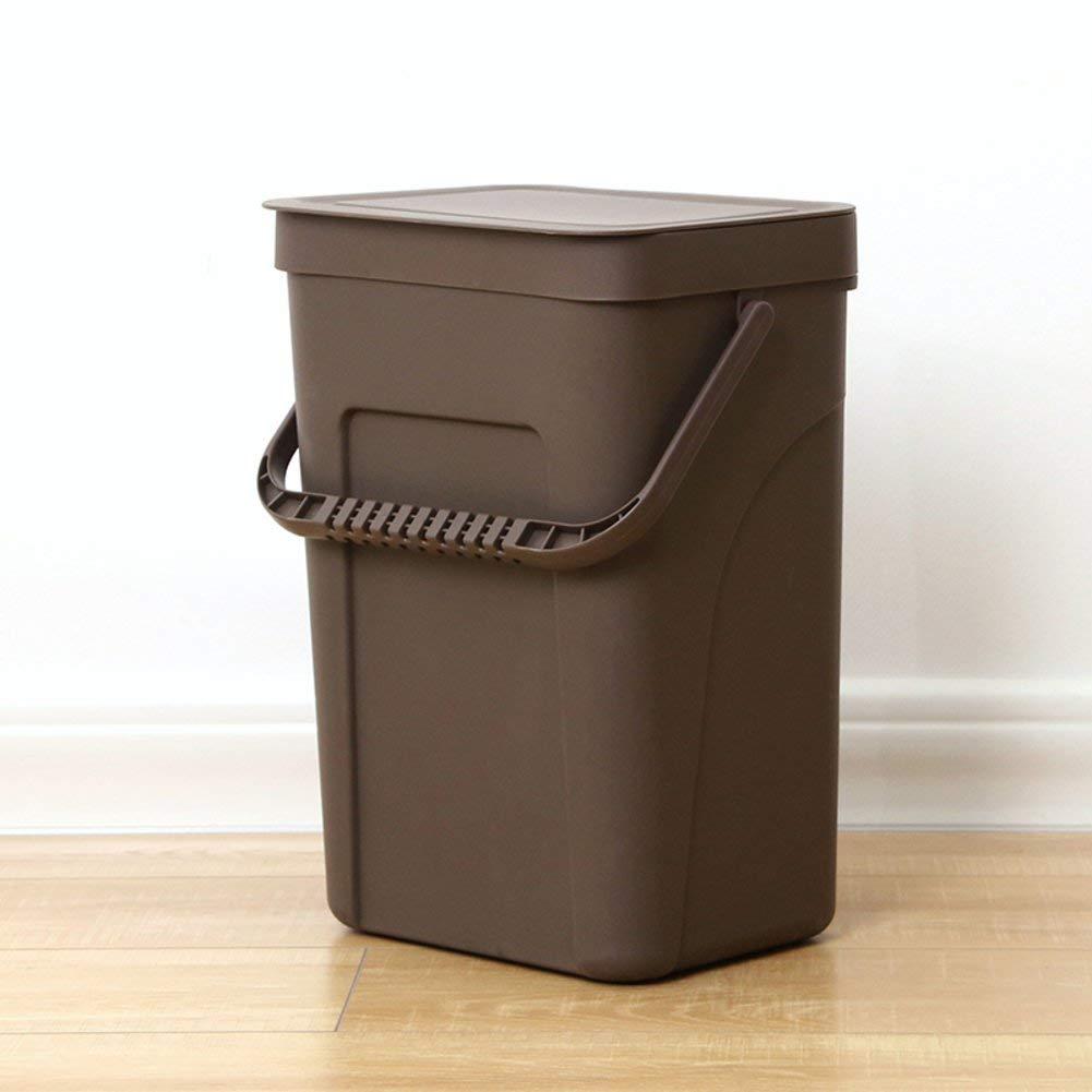 EODNCKJFG Wall-mounted trash can,Home kitchen plastic portable dustbin,Storage bin with lid,Covered trash bin wastebasket Rubbish bin,Black-B