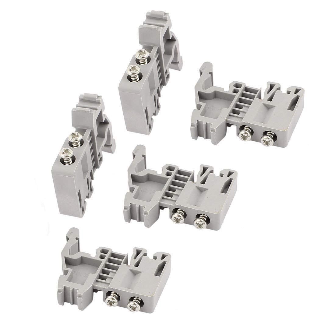 Aexit 5 Pcs E-UK 35mm DIN Rail End Screw Clamp Terminal Fixed Block Gray