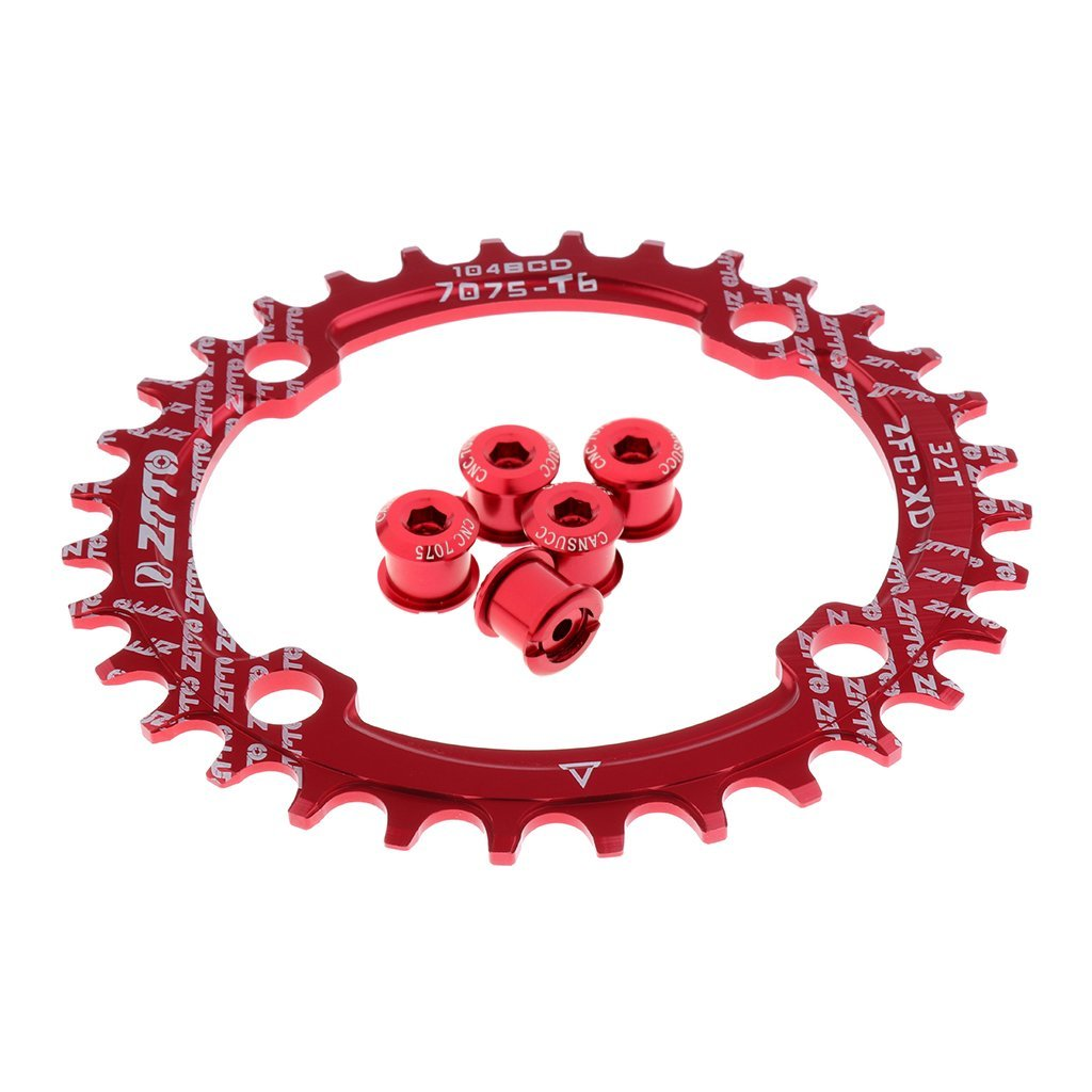 Chain Ring Crankset Bolts Screws Red Narrow Wide Single Chainring 104mm