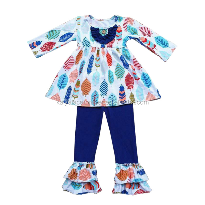 Wholesale Children's Boutique Clothing Feather Printing Ruffle Pants Fall Outfit Baby Clothes