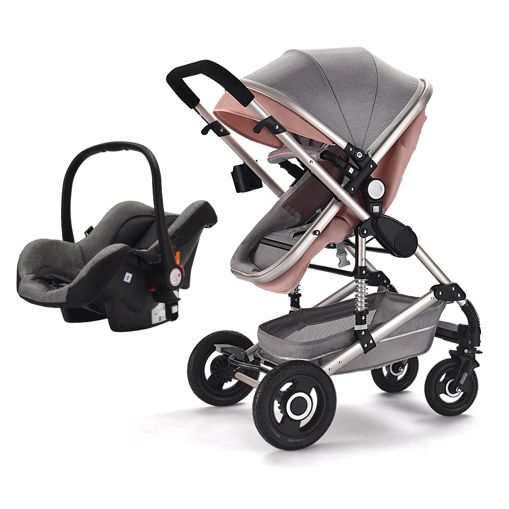 Wholesale cheap travel system luxury baby stroller 3 in 1 with carrycot and carseat
