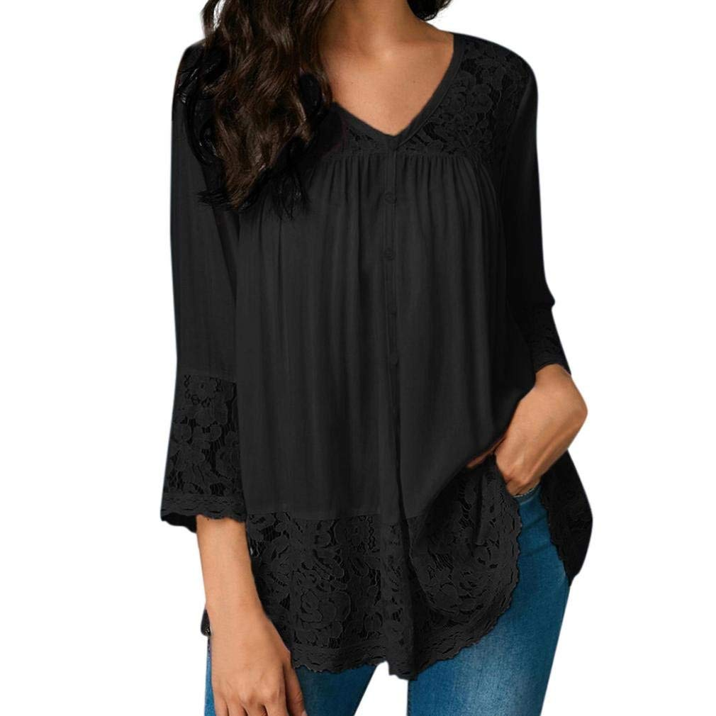 Hot Clearance! Women Blouse Daoroka Sexy Chiffon V Neck Three Quarter Casual Loose Lace T Shirt Clearance Fashion Solid Pullover Tops