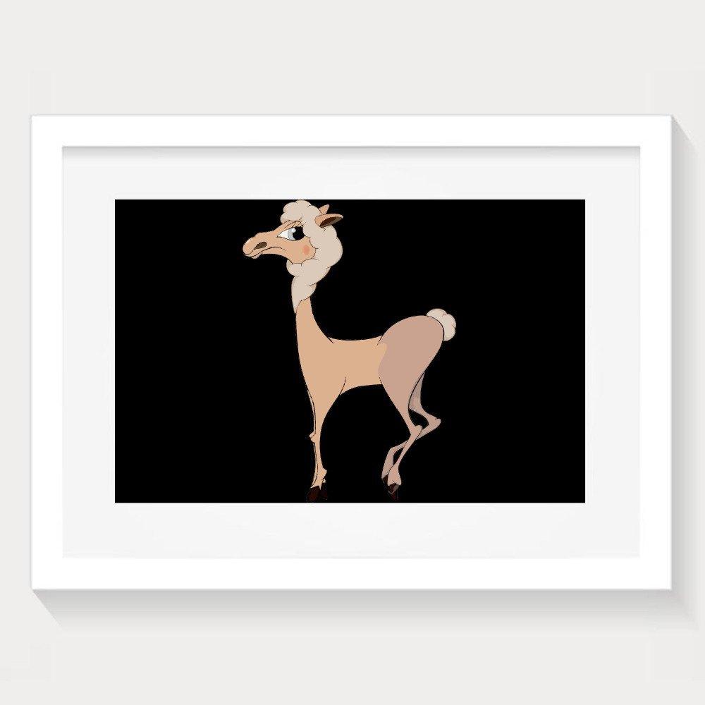 Cute Cartoon Alpaca Walking Decorative Paintings Home Decorative Wall Art Picture