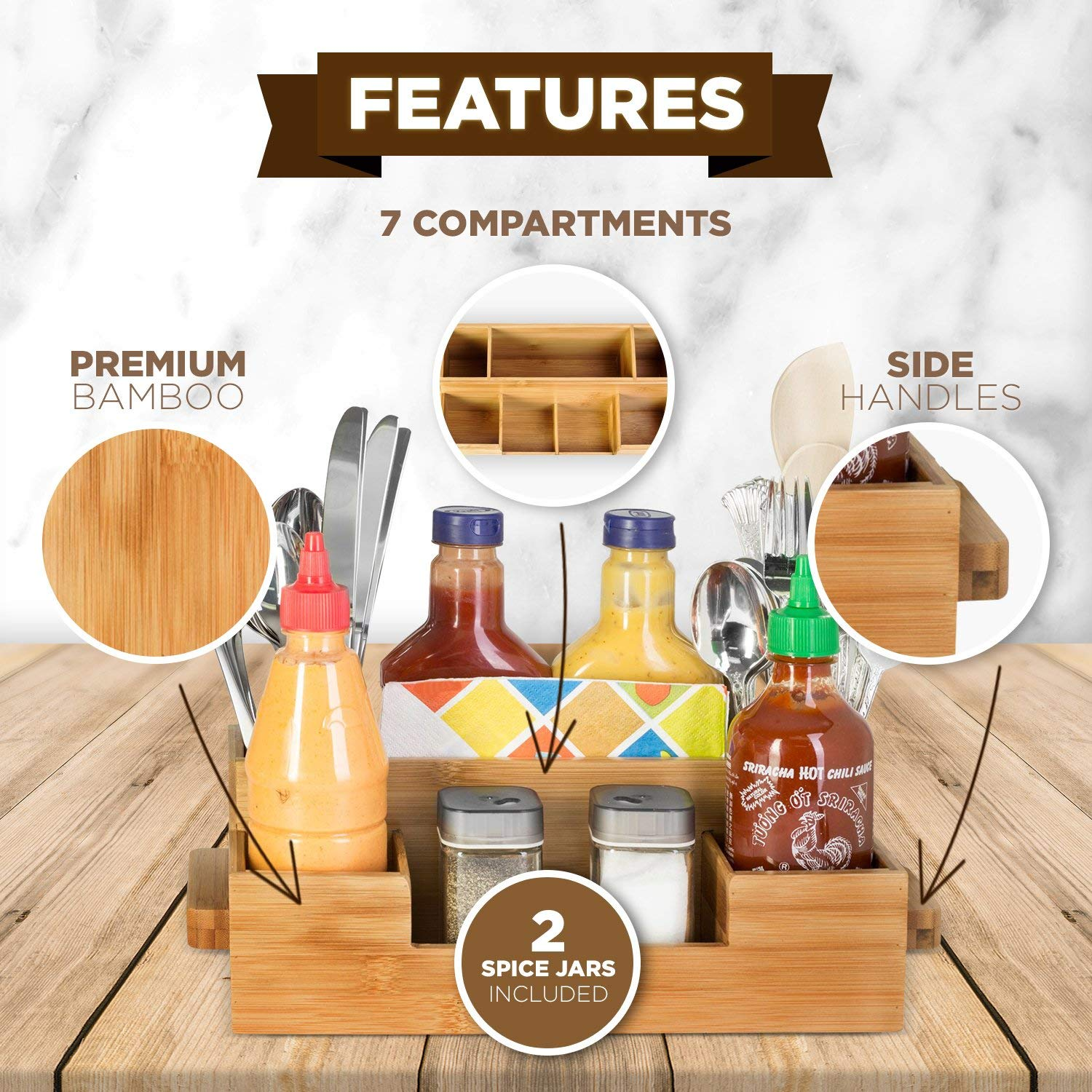 Bamboo Utensil Holder Set Caddy Silverware Flatware Wooden Beer Tray For Spoons Knives Forks 7 Compartment Kitchen Organizer
