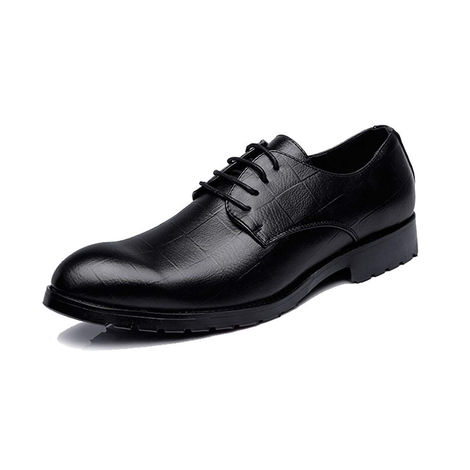 2018 Oxfords Shoes, Men's Business PU Leather Shoes Classic Lace up Loafers Square Texture Low Top Oxfords