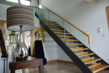 Stainless Steel U / L Shape Stair With Wood Tread And Glass Railing Wood  Tread Indoor