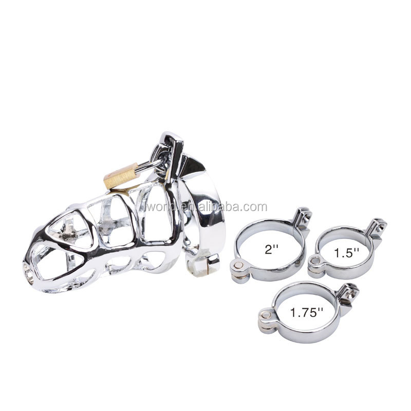 Silver stainless steel male chastity device cage for men