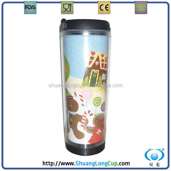 3bd2c83bb44 12 OZ good quality personalised plastic coffee travel mugs / paper insert  plastic tumbler SL-