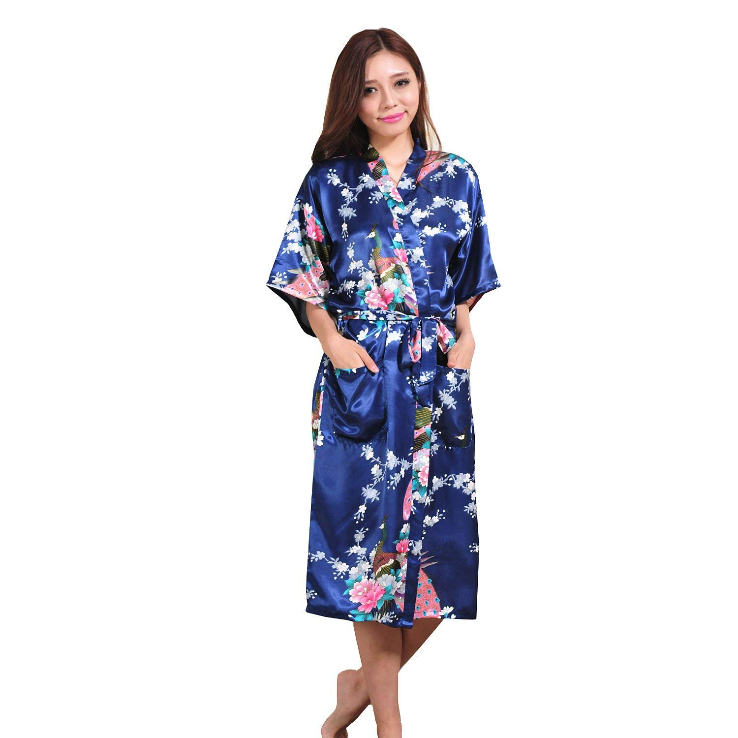093063b4a9 Get Quotations · GAOLIGUO GL G Fashion gown lady long paragraph cardigan  Thin section Japanese kimono robe gown loose Navy